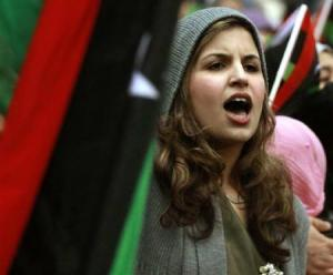 A woman in libya protests