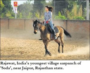 Rajawat, 30 yrs, youngest village sarpanch of Soda, riding horse