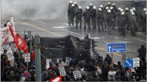 Protests in Athens in December 2010 against austerity measures.