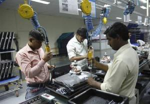 Workers at LG TV factory, Noida