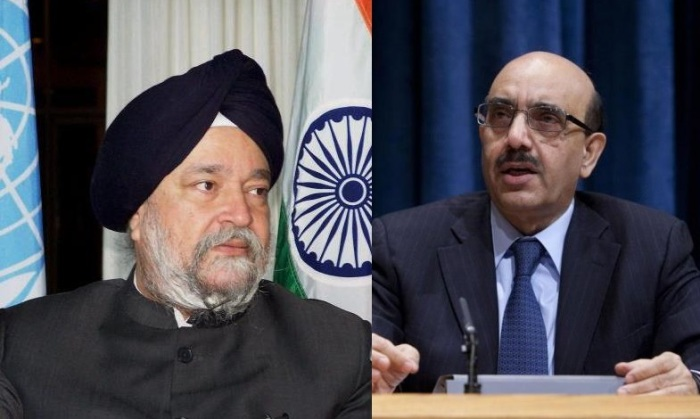 Perminent representatives of India and Pakistan in UN: Hardip Sing Puri (left) and Masood Khan