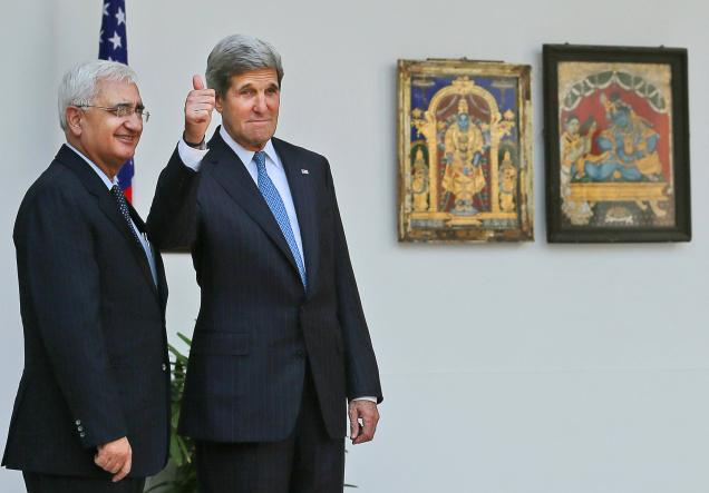 Salman Khurshid with U.S. Secretary of State John Kerry -The Hindu