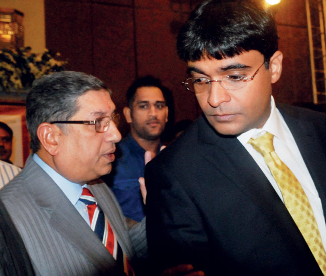 BCCI chief Srinivasan and his Son-in-law Gurunath Meiyappan