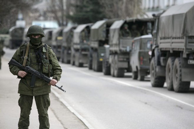 Russian army vehicles in Balaclava, Crimea