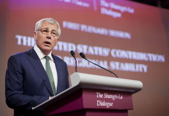 U.S. Defense Secretary Chuck Hagel speaks at the opening plenary meeting at the 13th Asia Security Summit in Singapore, May 31, 2014.