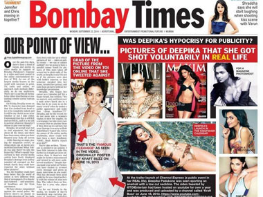Sunday article in Bombay Times (Wing of TOI)