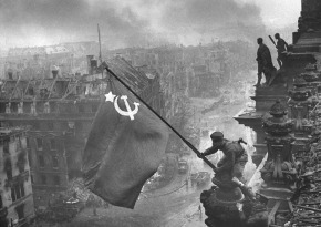 01 Red Flag hoisted on German parliament -May 2, 1945