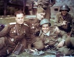 10 Soviet and the U.S. soldiers in jovial mood -Apr 1945