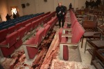 11 Bloodied chairs in ceremony hall