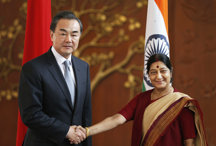 Sushma Swaraj, Wang Yi (in India)