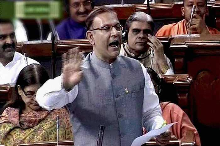 MoS for Finance Jayant Sinha introducing Insurance bill