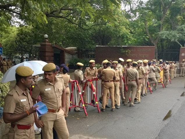 Police outside IIT Madras