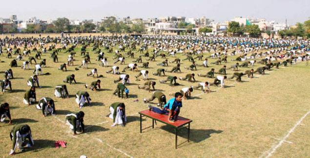 School students perform Surya Namaskar in Jaipur -TOI