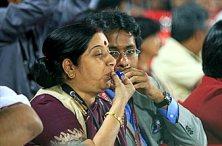 Sushma Swaraj whistles