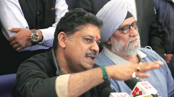 Kirti Azad and Bishan Singh Bedi at a press conference in New Delhi