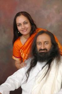 Bhanu Didi (sister) with Guruji