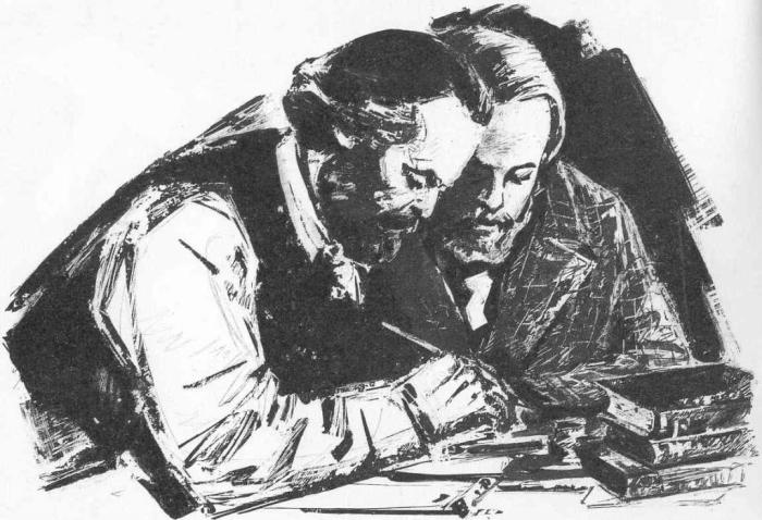 Karl Marx with Friedrich Engels