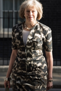 Downing Street, London, UK. 29th July, 2015. The Home Secretary Theresa May leaves 10 Downing Street on the morning she will chair an emergency Cobra meeting to discuss with ministers the growing Calais migrant crisis. // Lee Thomas, Flat 47a Park East Building, Bow Quarter, London, E3 2UT. Tel. 07784142973. Email: leepthomas@gmail.com. www.leept.co.uk (0000635435)