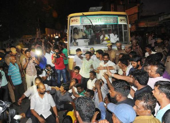 Political parties protest in front of Govt Raypetta Hospital in Chennai