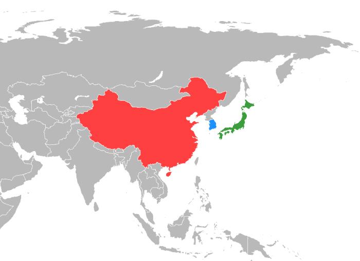 China, South Korea & Japan