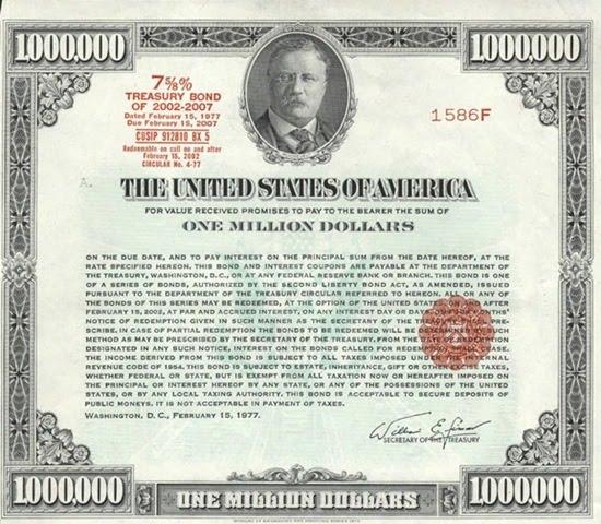 One million Treasury Bond